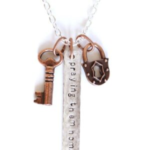 PTH Long Bar Lock and Key Necklace on Shop Made in Nevada
