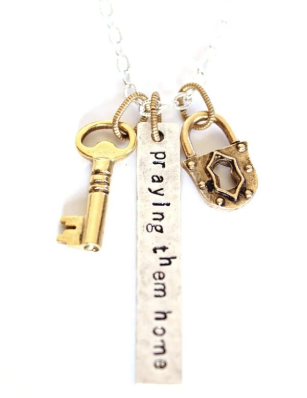 Made in Nevada PTH Long Bar Lock and Key Necklace