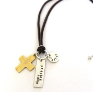 Made in Nevada Large Cross Leather Cord Necklace