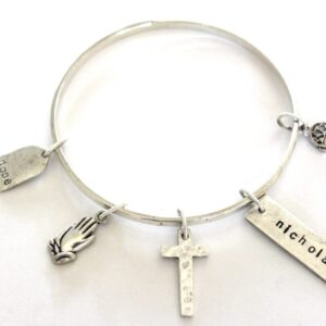 Made in Nevada Hope and Cross Flat Bangle Bracelet