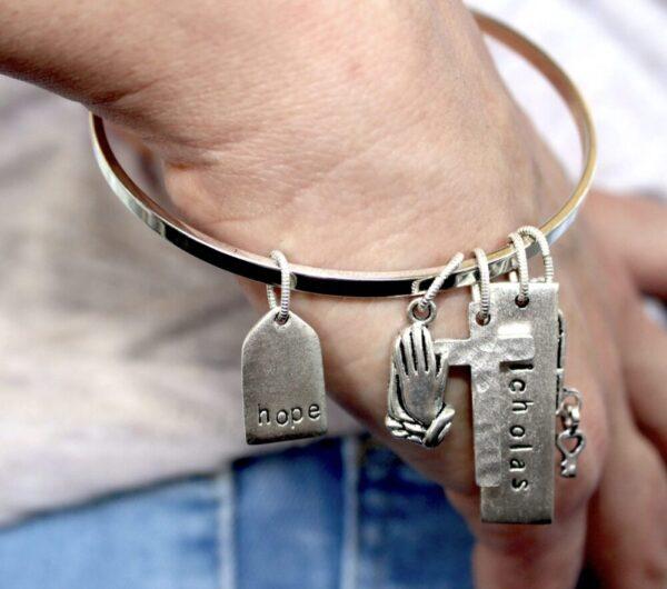 Made in Nevada Hope and Cross Flat Bangle Bracelet