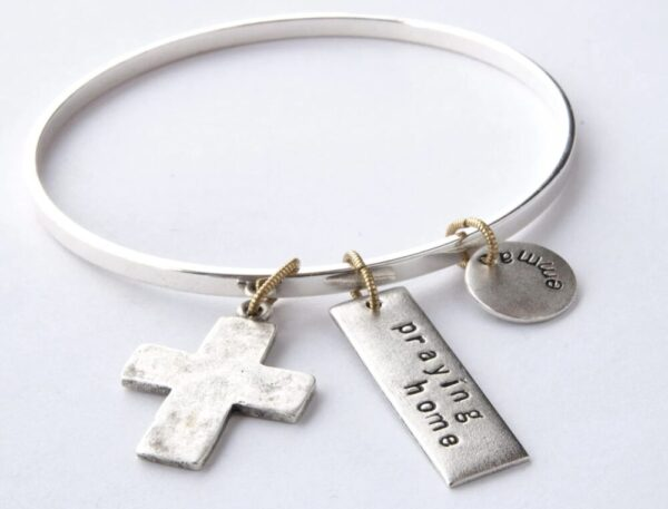 Made in Nevada Large Cross Flat Bangle Bracelet
