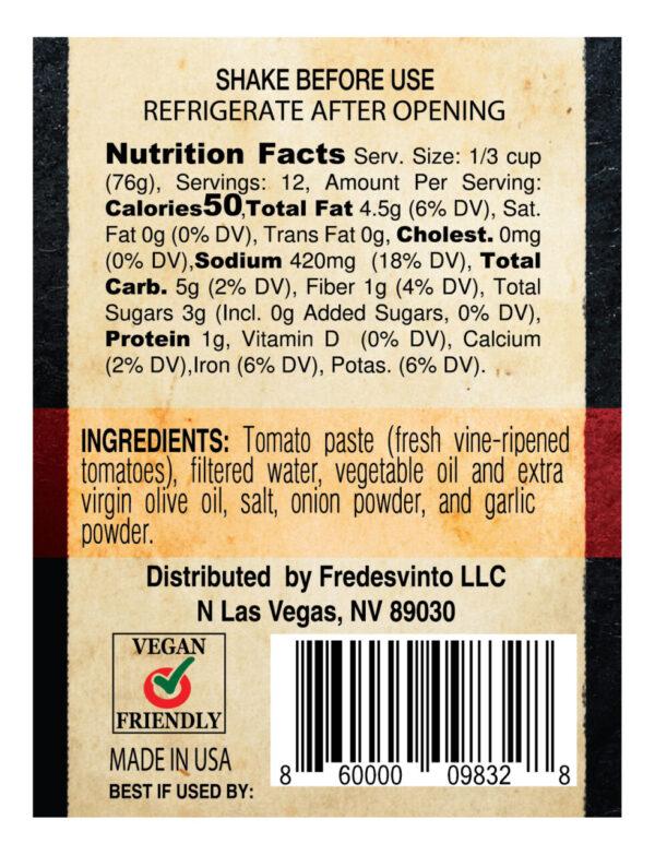 Made in Nevada Fredesvinto Original Gourmet Pasta Sauce