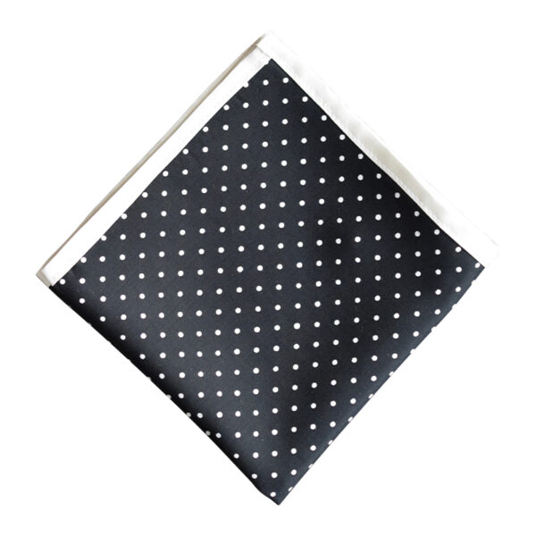 Made in Nevada Black pocket square with white polka dots with white border