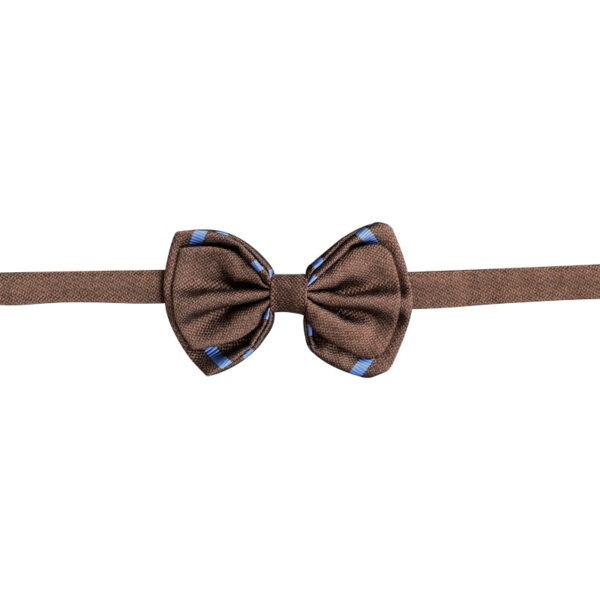 Solid Brown bow tie with blue stripes