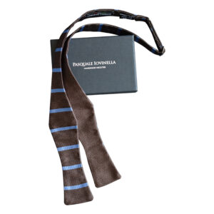 Solid brown and brown with blue stripes bow tie