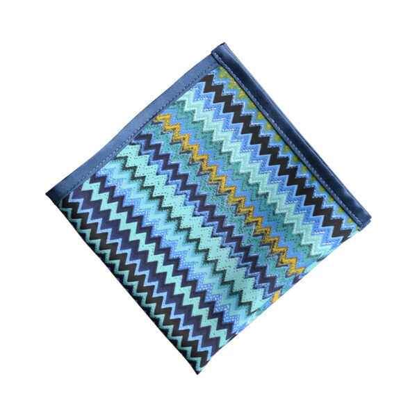 Made in Nevada Green/blue chevron pocket square with blue border