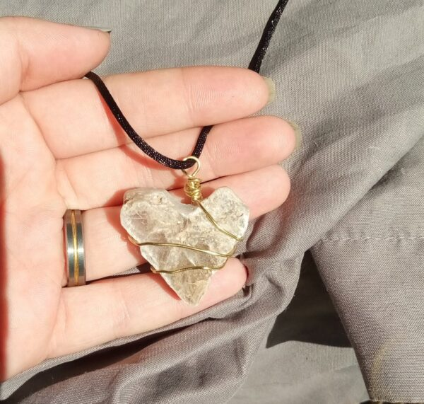 Made in Nevada Custom Carved Selenite Heart Necklace