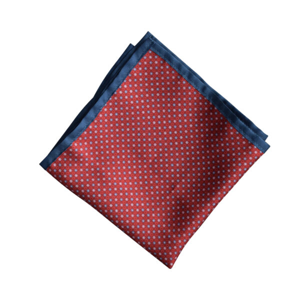 Red pocket square with flowers with dark blue border