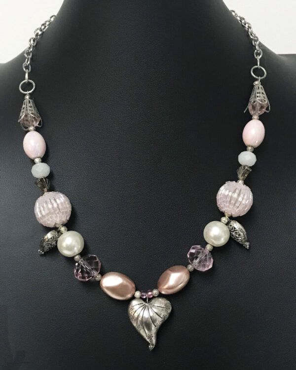 Made in Nevada Silver Heart Charms and Pink Beaded Necklace