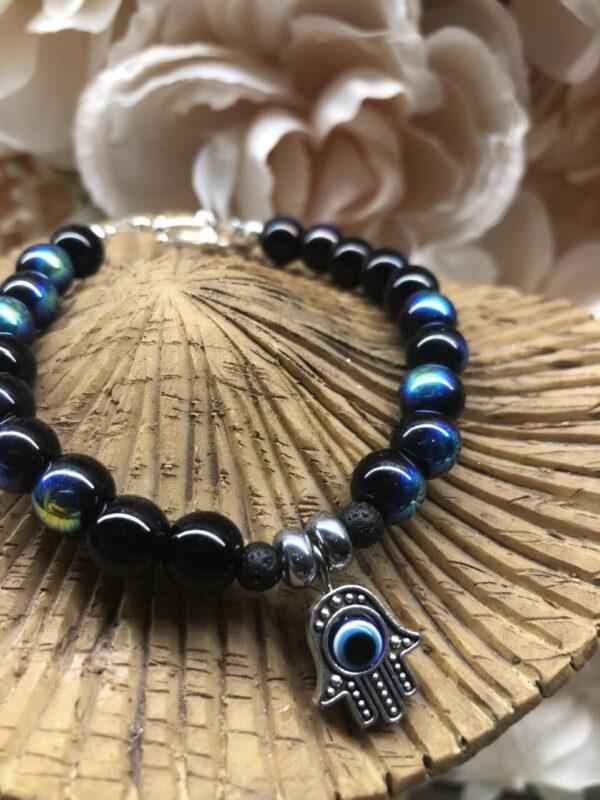 Made in Nevada Hamsa Blue Bracelet