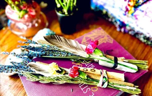 Made in Nevada Selenite Wand Smudge Kit Bundles With Feathers
