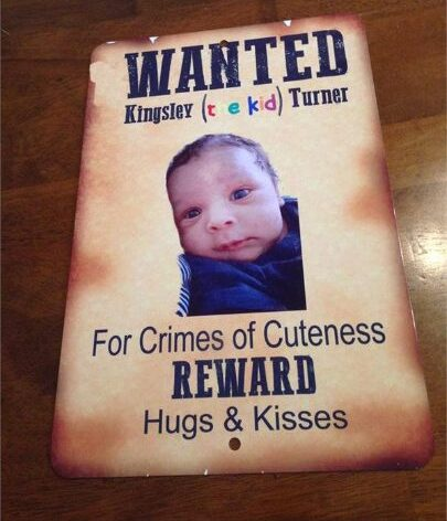 """Made in Nevada Fun Baby & Kid Personalized """"Wanted"""" Sign"""