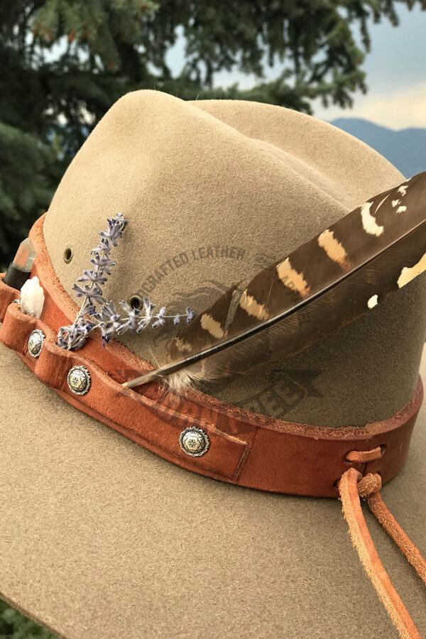 Made in Nevada Fur Felt Hat with Hermann Oak Leather Crystals Conchos Coin