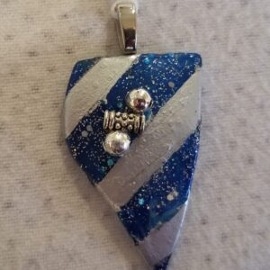 Made in Nevada Nevada Shaped Silver & Blue Tumbled Glass Pendant with Glitter