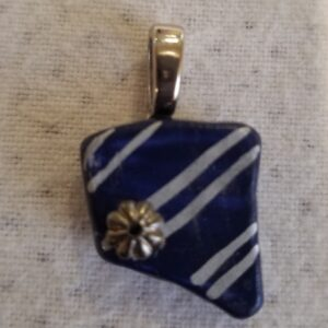 Made in Nevada Nevada Shaped Blue Beach Pottery Pendant with Double Silver Lines