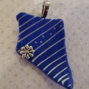 Made in Nevada Nevada Shaped Bright Blue Tumbled Glass Pendant with Thin Silver Stripes & Flower Accent