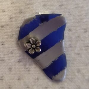 Made in Nevada Nevada Shaped Blue Tumbled Glass Pendant with Thick Silver Lines & Flower Accent