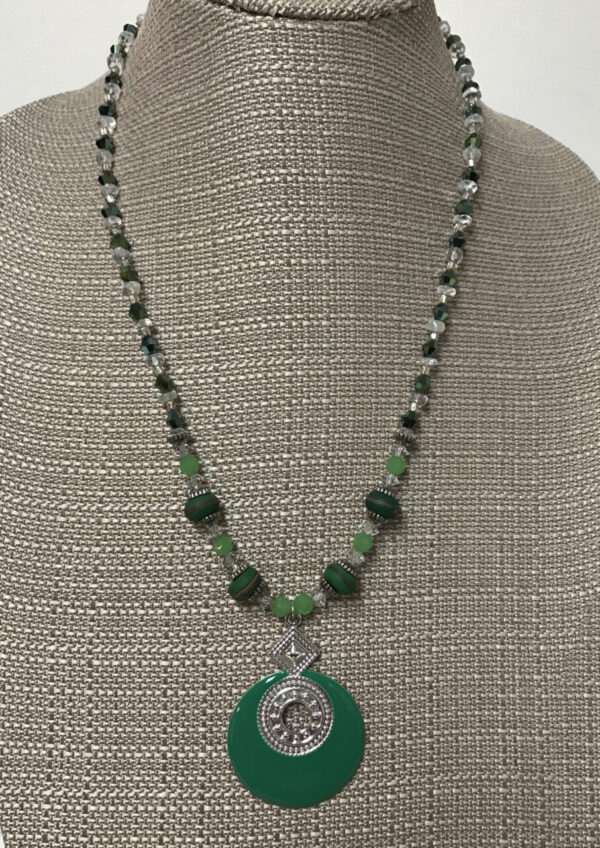 Made in Nevada Green Enamel and Silver Pendant and Crystal and Bead Necklace