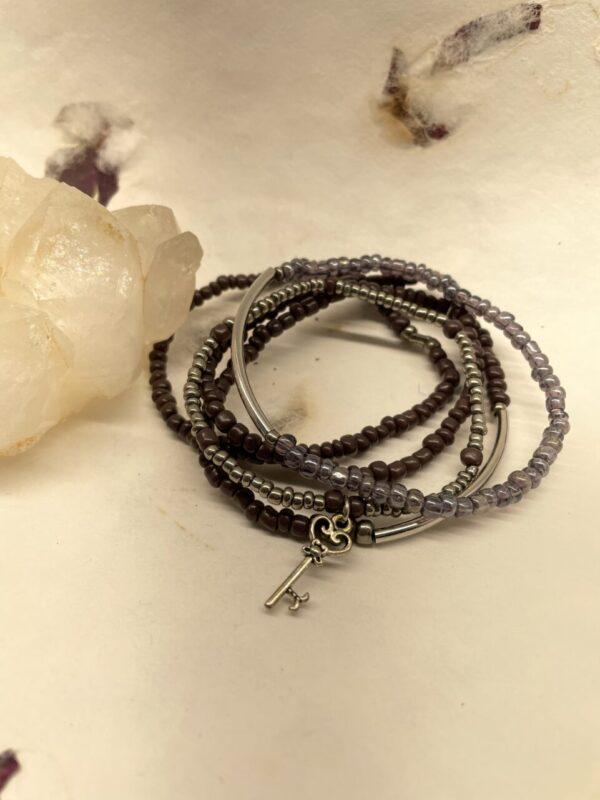 Made in Nevada Purple Bead Cluster Bracelet