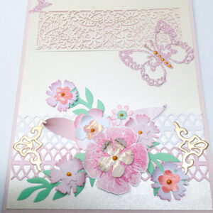 Made in Nevada Elegant Handmade Floral Card in Pink
