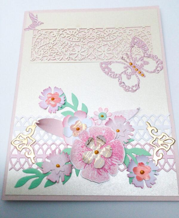 Made in Nevada Elegant Handmade Floral Card in Pink