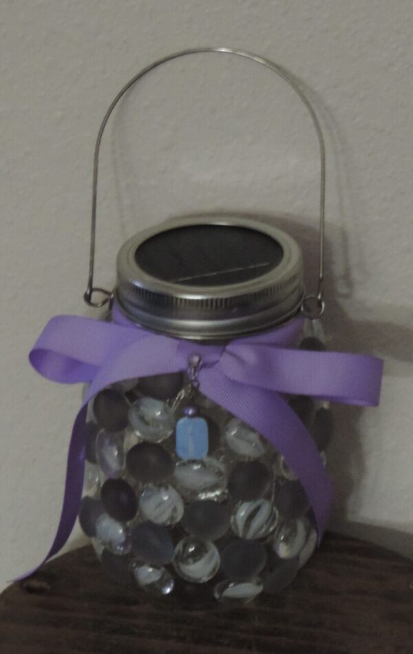 Made in Nevada Solar Lantern ~ Lavender and White Cat's Eye