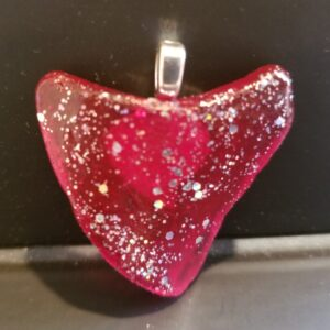 Responsibly collected seaglass pendant (Massachusetts), painted red/glitter, naturally formed heart shape, w/heart bail