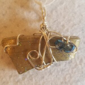 Made in Nevada Beach Pottery Pendant, painted gold/glitter, 2 blue multi-faceted beads, thick pottery