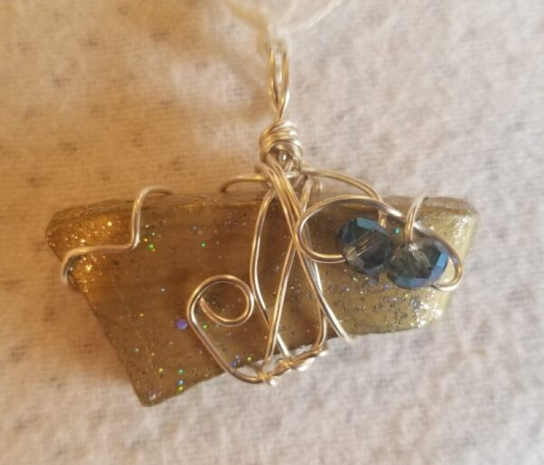 Beach Pottery Pendant, painted gold/glitter, 2 blue multi-faceted beads, thick pottery