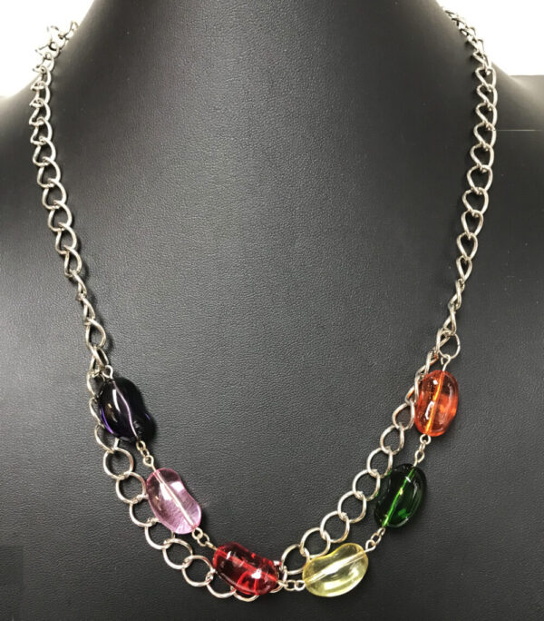 Made in Nevada Glass Jelly Bean and Silver Necklace