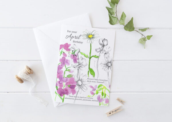 Made in Nevada April Birthday Greeting Card Sweet Peas Daisy Flowers