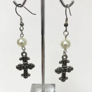 Made in Nevada White Pearl and Celtic Cross Earrings