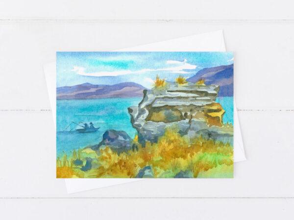 Made in Nevada Nevada Pyramid Lake Fishing Blank Greeting Card