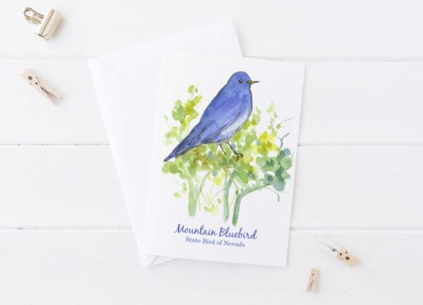 Made in Nevada Mountain Bluebird State Bird Of Nevada Blank Greeting Card