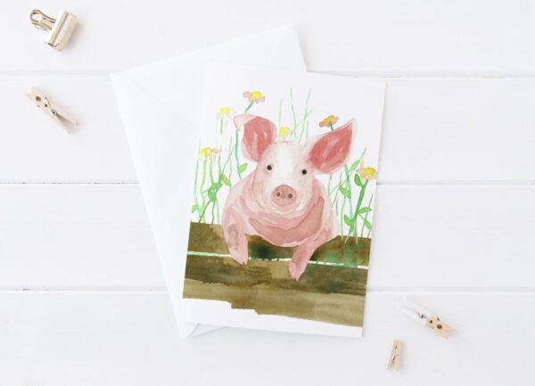 Made in Nevada Pink Pig Blank Greeting Card