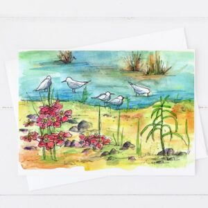 Made in Nevada Lake Shore Birds Blank Greeting Card