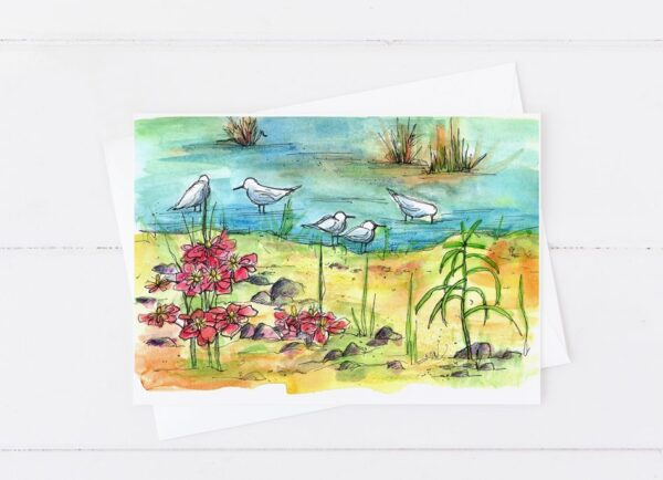 Made in Nevada Lake Shore Birds Blank Greeting Card