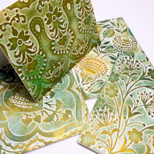 Made in Nevada Patina Like Green and Gold Embossed Cards