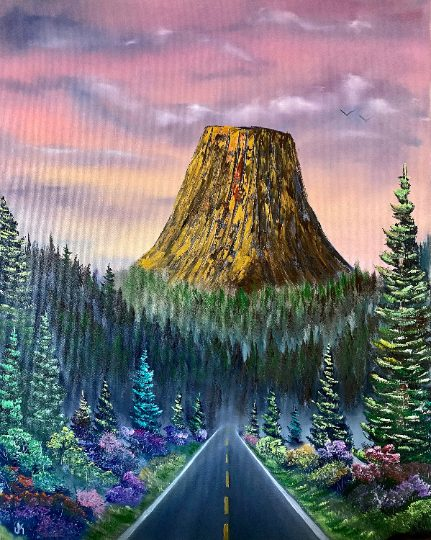 Made in Nevada The Devils Tower. Original Oil Painting on Canvas by Josh Kirkham. 24×30