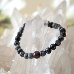 Made in Nevada Obsidian Garnet Gemstone Bracelet Aromatherapy Diffuser Jewelry