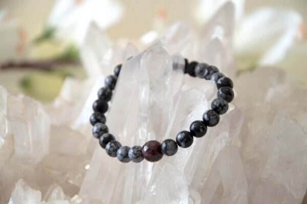 Made in Nevada Obsidian Garnet Gemstone Bracelet Aromatherapy Diffuser Jewelry