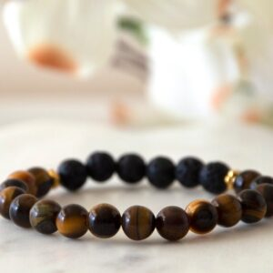 Made in Nevada Tigers Eye Gemstone Bracelet Diffuser Aromatherapy Jewelry