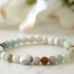 Made in Nevada Amazonite Howlite Gemstone Bracelet Aromatherapy Diffuser Jewelry