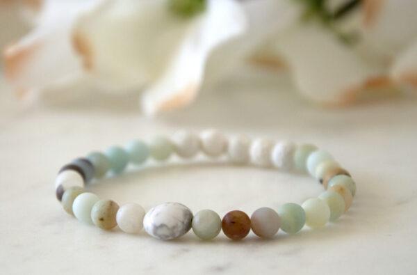 Made in Nevada Amazonite Howlite Gemstone Bracelet Aromatherapy Diffuser Jewelry