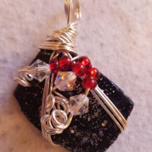 Made in Nevada Beach glass pendant, painted black/glitter, 3-wire, 3 Swarovski crystals