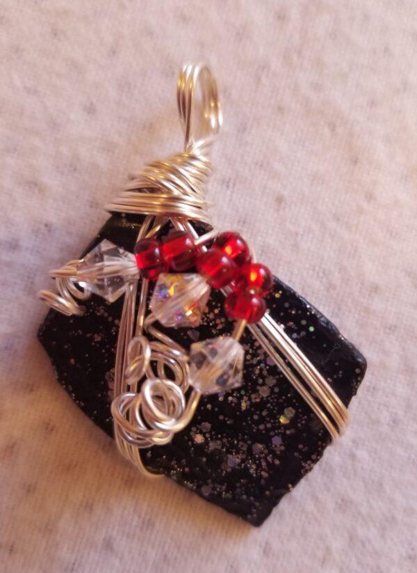 Made in Nevada Beach glass pendant, painted black/glitter, 3-wire, 3 Swarovski crystals