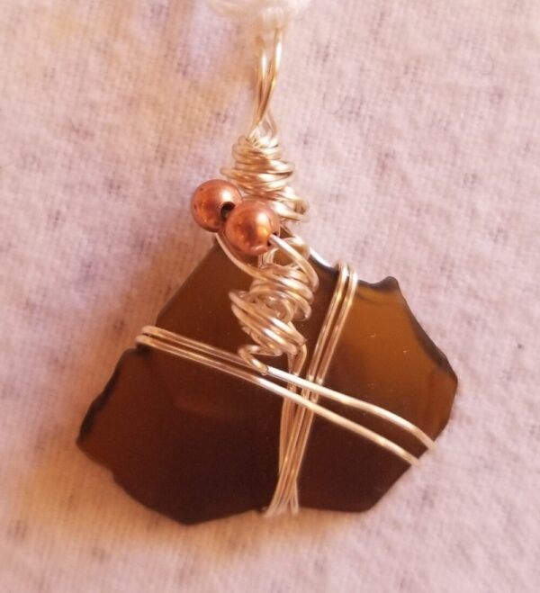 Made in Nevada Beach glass pendant, brown, 2-wire, copper beads and 'corkscrew'
