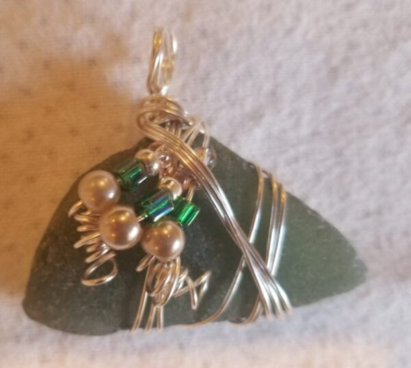 Made in Nevada Beach glass pendant, green, 3 larger pearl beads with 3 square green beads