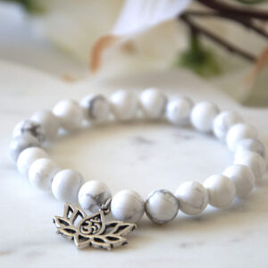 Made in Nevada Howlite Gemstone Bracelet Lotus Charm